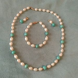 Vintage pearl & turquoise 14k gold set
